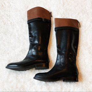 Nine West Black Leather Knee High Boots Size 5.5